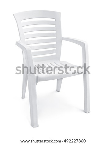 Empty white plastic chair isolated on white. Plastic Garden Furniture Stock Images  Royalty Free Images