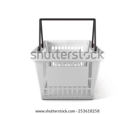 Empty white plastic shopping basket clipping path. 3d illustration. - stock photo