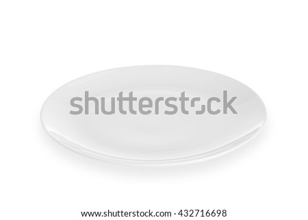 empty white plate isolated on white background with  clipping path - stock photo