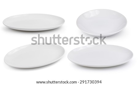 empty white plate on a white background - stock photo