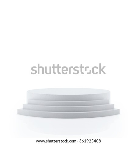 Empty white podium for award ceremony, Isolated on white background