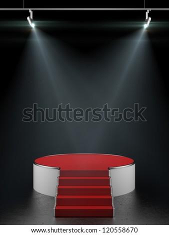 Empty white podium isolated on black - stock photo