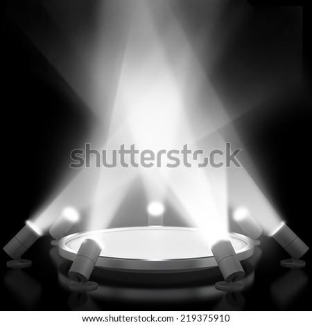 Empty white podium with light - stock photo