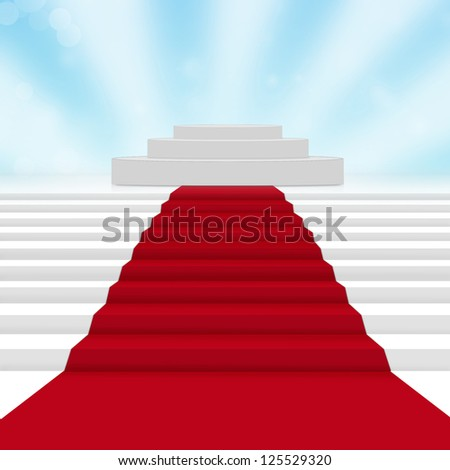 Empty white podium with red carpet