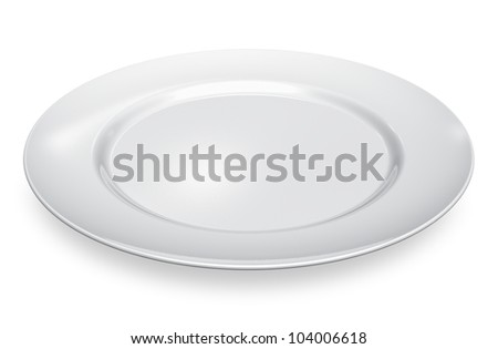 Empty white porcelain plate isolated on white background - stock photo