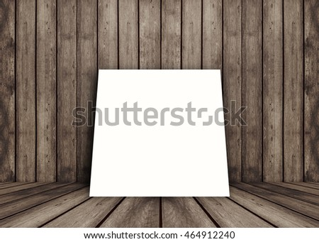 empty white poster frame put on old grunge texture wooden interior room for present product, perspective wooden floor and wall,template for your content