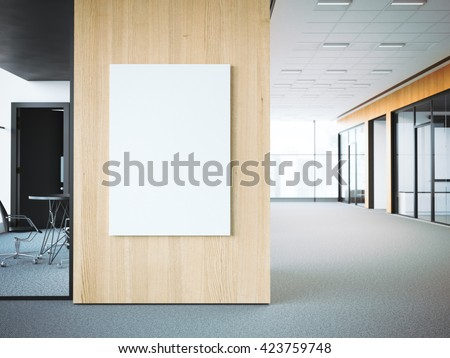 Empty white poster on the office wooden wall. 3d rendering - stock photo