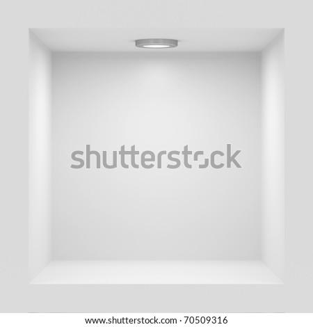 Empty white rack with illumination of shelves - stock photo