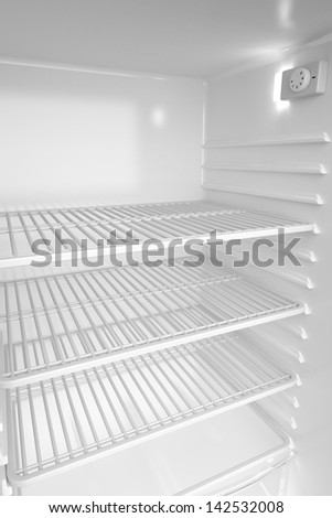 Empty white refrigerator, 3d rendered image - stock photo