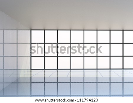 Empty white room , 3D Rendering - stock photo