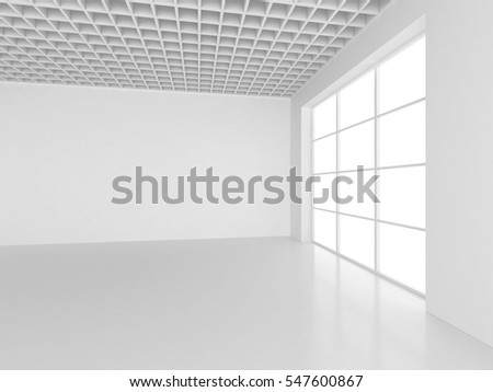 Empty white room interior office. 3d rendering