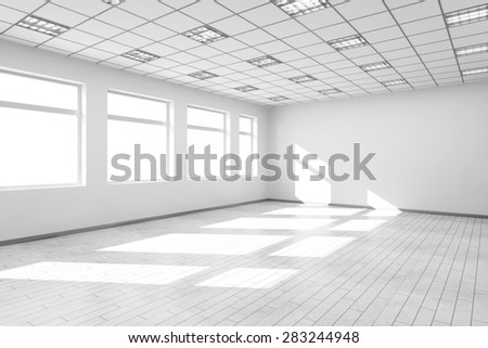 Empty White Room Interior with Big Windows. 3D Rendering