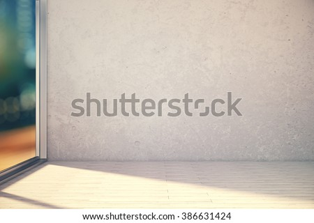 Empty white room interior with blank wall and window, revealing blurry nighttime view. Mock up, 3D Render - stock photo