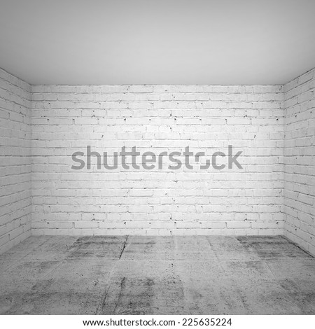 Empty white room interior with brick walls and concrete floor. Square 3d background