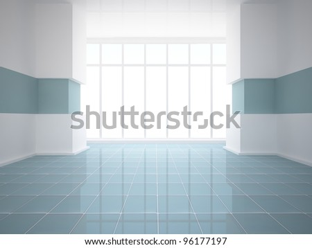 empty white room with blue tiled floor - stock photo