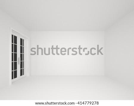 empty white room  with door interior background-3D rendering - stock photo