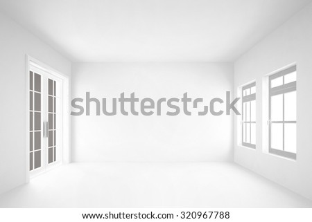 empty white room  with door&windows interior background-rendering - stock photo