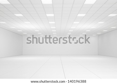 Empty white room with neon lights and white walls - stock photo