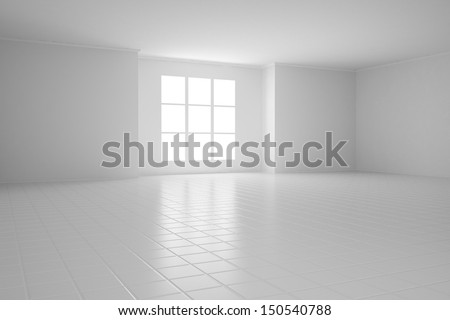 Empty white room with square windows and tiled floor - stock photo