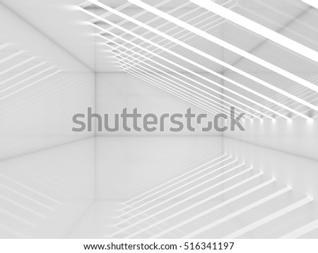 Empty white room with thin stripes of ceiling lights. Contemporary architecture background. 3d render illustration