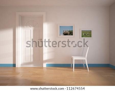 empty white room with white door - stock photo