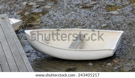 Empty White Rowboat on Land, Tied to Dock, Mid-Coast Maine, October