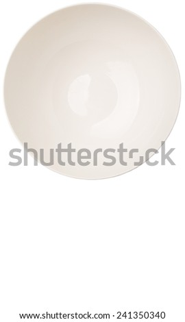 Empty white salad bowl over white background