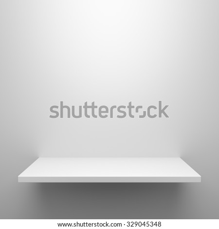 Empty white shelf hanging on wall with light from the top - stock photo