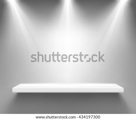 Empty white shelf illuminated by three spotlights. Boutique showcase or interior decoration furniture