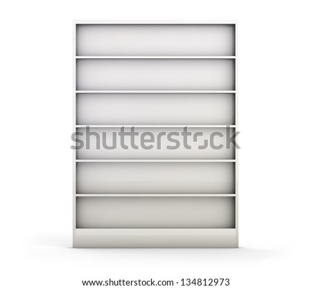 Empty white shelf isolated on white.