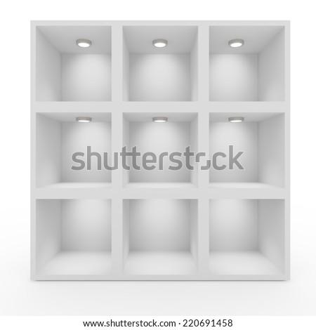 Empty white shelves with lighting. Isolated background - stock photo