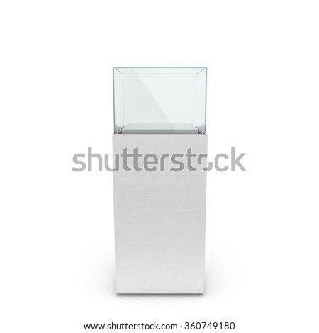 empty white showcase with pedestal. 3d illustration isolated on white background - stock photo