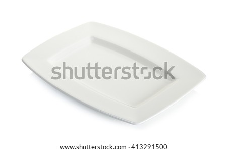 Empty white square plate isolated on white background.