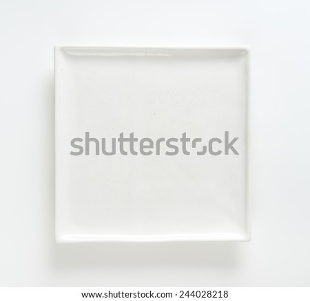 empty white square plate on white background - stock photo