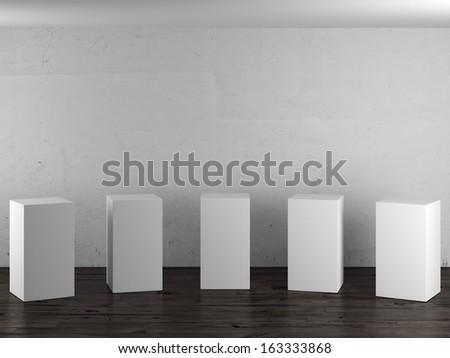 Empty white stands in interior - stock photo