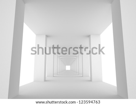 Empty White Tunnel with Bright Light at the End