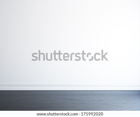 empty white wall and black wood floor - stock photo