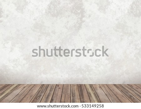 Empty white wall and parquet. Light plaster wall. Interior empty room.