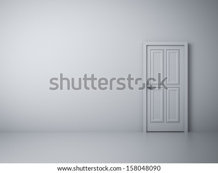 Empty white wall with closed door
