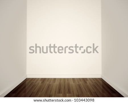 Empty white walls. 3D render. - stock photo