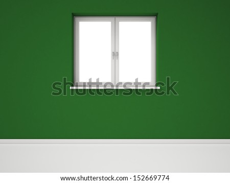 Empty White Window on Green Wall, Empty Room - stock photo