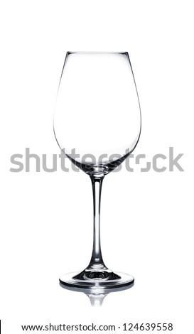 Empty white wine glass isolated on white background - stock photo