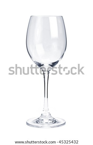 Empty white wine glass isolated on white background