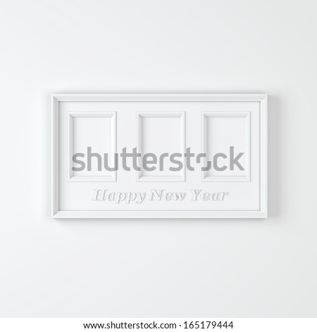 "Empty white wooden frame with three compartments with text ""Happy New Year"""