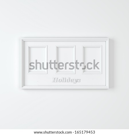 "Empty white wooden frame with three compartments with text ""Holidays"""