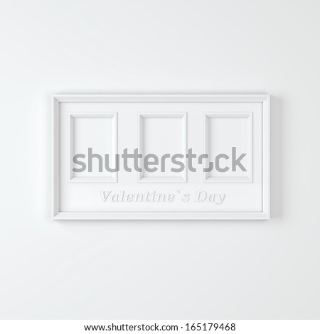"Empty white wooden frame with three compartments with text ""Valentines day"""