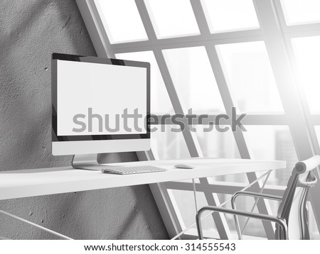 empty white workspace with computer on home or office