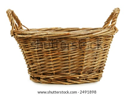 Empty wicker basket. Isolated on white. Clipping path included. - stock photo