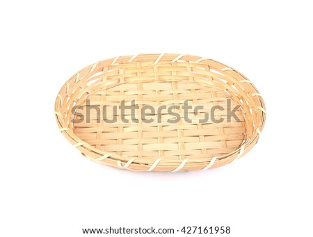 Empty wicker basket ,weave texture, isolated on white background.