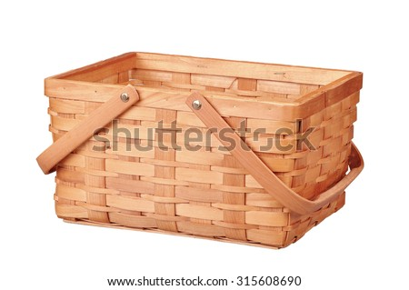 Empty wicker basket with handles isolated on white  - stock photo